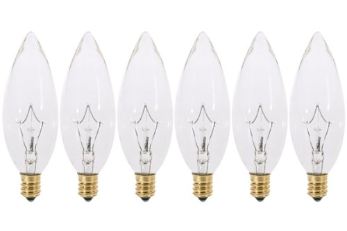 (Pack of 6) 60 Watt Clear Candelabra Base (E12) Torpedo Tip 120V Chandelier Bulbs ()