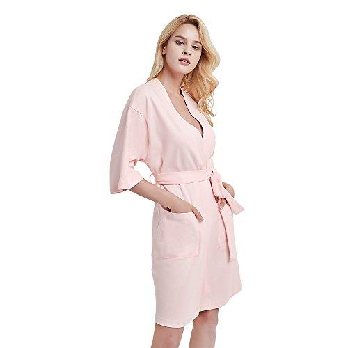 Cotton Pink Short - U2SKIIN Womens Cotton Robe Lightweight Short Kimono(Pink,M)