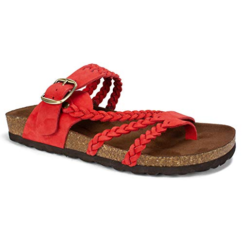 (WHITE MOUNTAIN Shoes Hayleigh Women's Sandal, RED/Nubuck, 9 M)