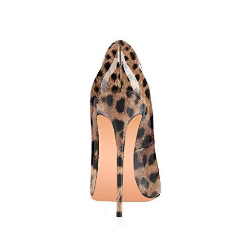 Fsj Donne Diapositiva Peep Toe Tacchi Alti Sexy Tacchi A Spillo Scarpe In Vernice Per Il Partito Taglia 4-15 Us Leopardo