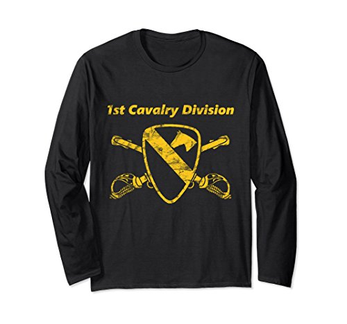 Unisex First Team-Distress Yellow - 1st Cav Div Long Sleeve T-shirt 2XL Black (1st Cav T-shirts)