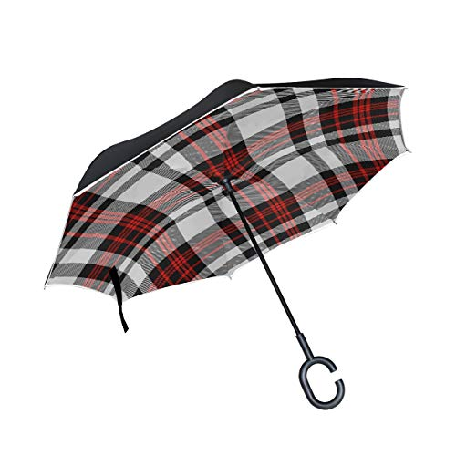 KUneh Double Layer Inverted Seamless Tartan Plaid Pattern Stripes Red Umbrellas Reverse Folding Umbrella Windproof Uv Protection Big Straight Umbrella for Car Rain Outdoor with C-Shaped Handle