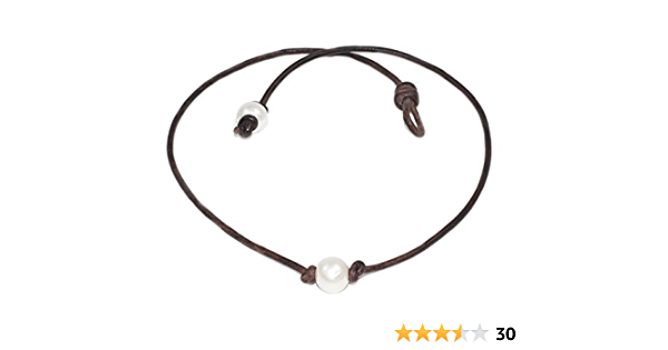 Fresh Water Oblong Natural Pearl Necklace Choker on a Genuine Leather Adjustable Necklace