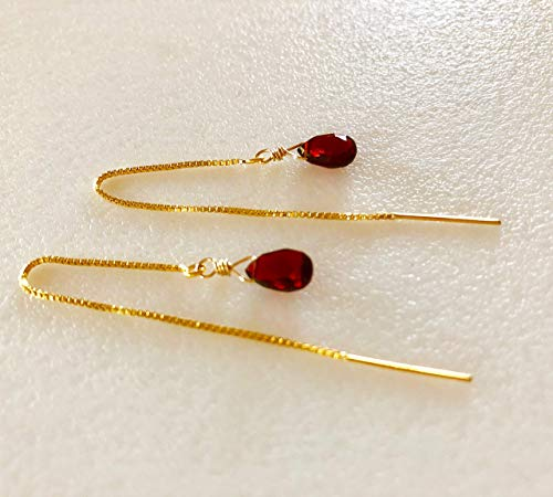 Red Garnet Threader Earrings, Petite Mozambique Red Garnets, Luxe AAA Gemstones, January Birthstone, 14K Gold Fill, Sterling Silver.
