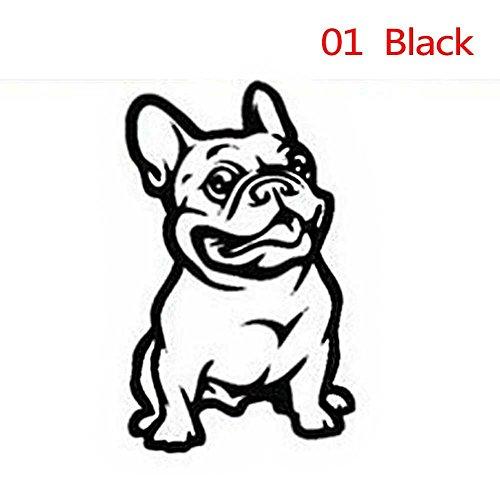 RUNGAO Cute Adhesive Custom 3D Car Sticker French Bulldog Dog/Pet Vinyl Car Decal Decor Black