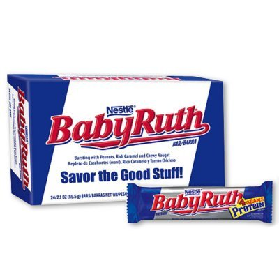 Baby Ruth Milk Chocolate Candy Bars, 2.1 Ounce Bar - Pack of 24