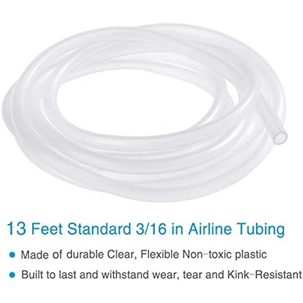 Check Valves Pawfly 13 Feet Airline Tubing Standard Aquarium Air Pump Accessories with Air Stones Suction Cups and Connectors
