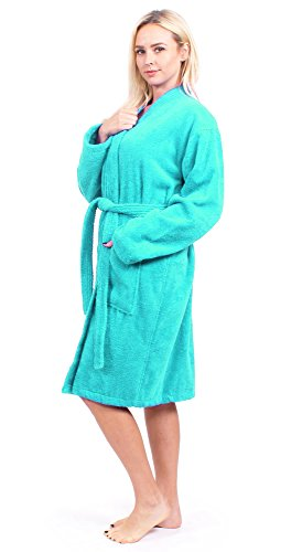 Turkuoise Women's Terry Cloth Robe 100% Premium Turkish Cotton Terry Kimono Collar (Large/One Size, Aqua)