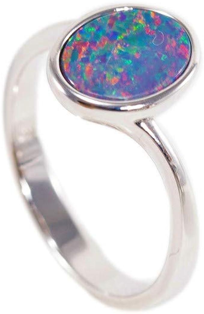 925 Sterling Silver 5 stone ring Unique Black Opal jewelry CZ /& 9x7mm Black Australian Opal Modern Engagement ring