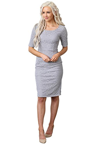Mikarose June Modest Pencil Dress in Grey Lace - S