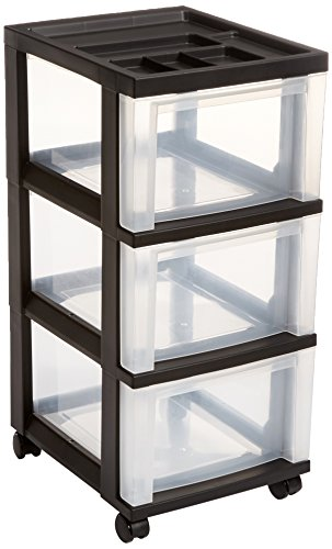 IRIS 3-Drawer Rolling Storage Cart with Organizer Top, Black (Drawer Small Dresser)