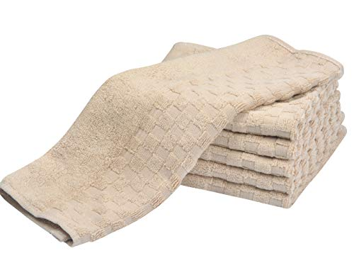 SUNLAND 100% Cotton Washcloths Extra Soft Fingertip Towels Highly Absorbent Face Cloths 6 Pack 13Inchx13Inch Light Brown by SUNLAND (Image #6)