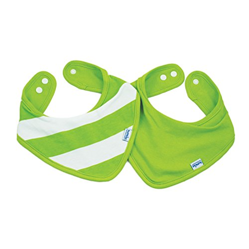 Bumkins Printed Waterproof Bandana Bib 2 Pack, Green Stripe (0-9 Months) ()