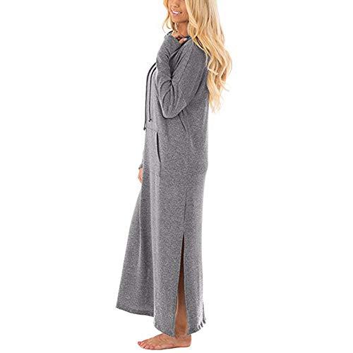 Toimothcn Long Hooded Dress, Womens Casual Pockets Dresses Long Sleeve Split Maxi Dress Plus -