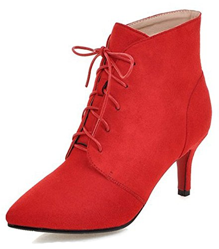 Aisun Women's Dressy Elegant Lace up Pointed Toe Stiletto Kitten Heels Bridal Party Ankle Boots Booties (Red, 5 B(M) -