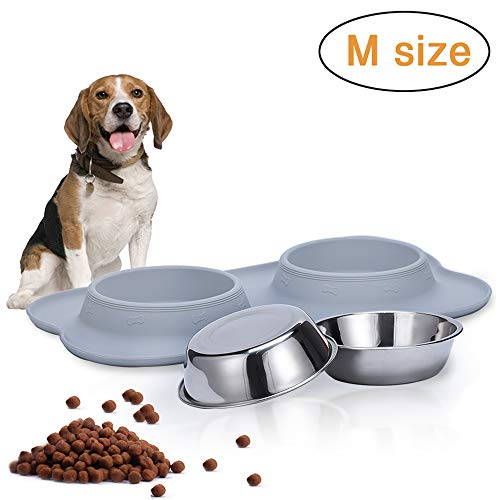 Dog Food Bowls, Stainless Steel Dog Bowls and Pet Bowls with No-Spill and Non-Skid Mat Feeder Bowls Suittable for Dogs Cats and Pets