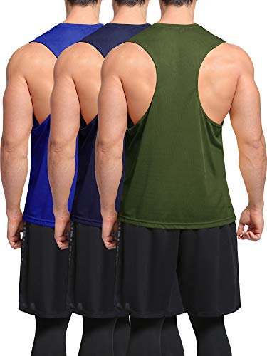 Neleus Men's 3 Pack Dry Fit Gym Workout Muscle Tank Top,5054,Blue/Navy/Olive Green,US S,EU M