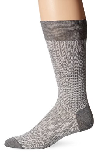 Punto Men's Herringbone Sock, Light Grey, Sock Size:10-13/Shoe Size: 6-12