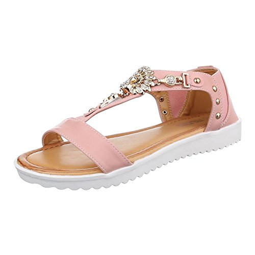 Ital-Design Damen Schuhe, FC16-A05, Sandalen Leichte Nieten BESETZTE Rosa