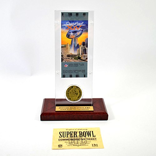 Highland Mint Super Bowl XIV Replica Ticket with Bronze Coin (Super Bowl Bronze Coin)