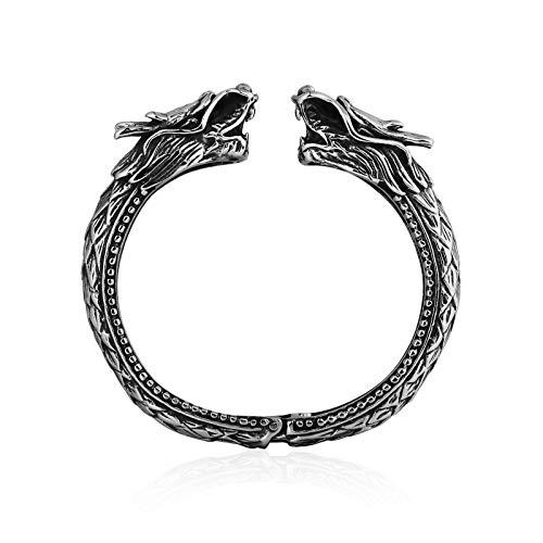 Gnzoe Men Bracelets Stainless Steel Dragon Head Cuff Bangle Wristband Silver 5.9Cm