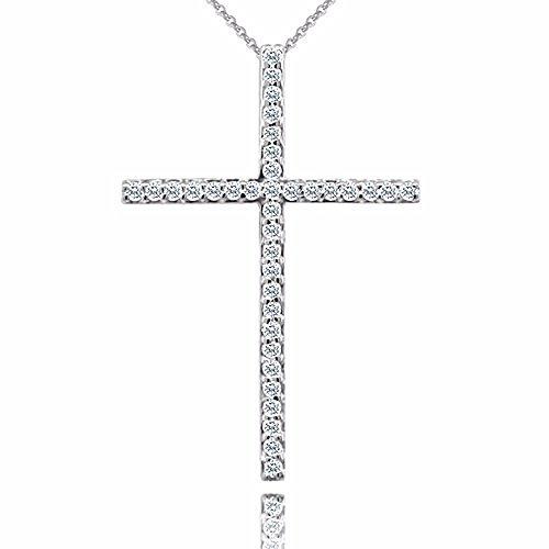 0.35CT Diamond 14K White Gold Spiritual Cross Religious Jewelry Pendant Necklace by PPLuxury