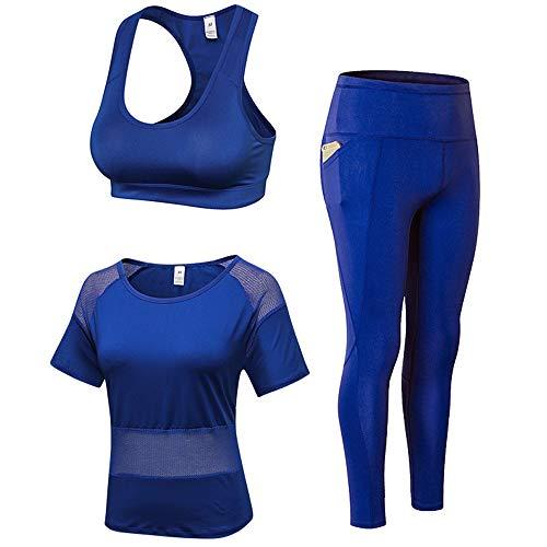 d49c7688eb5492 Women's Compression Yoga Shirts + Running Sport Bra + Leggings 3 Pack Set