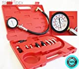 """SKEMiDEX--- Diesel Gas Engine Compression Tester Kit Gauge Auto Motor Fuel Injection Tester The gauge feature a rugged protective outer boot 2 3/4"""" low pressure gauge reads 0-1000 psi and 0-70 bar."""