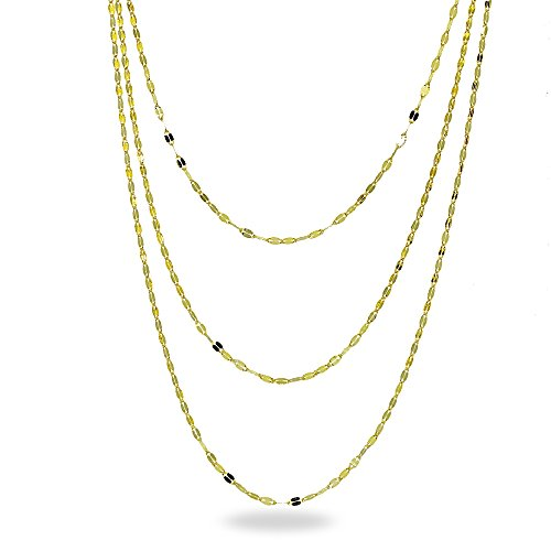 Three Gold 14k Strand (14K Gold Chain Mariner Italian Layered Necklace, 20-Inches)