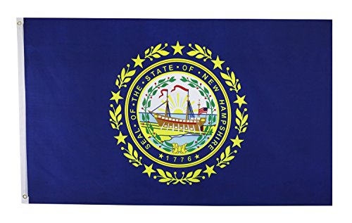 Shop72 US Hampshire State Flags Hampshire Flag - 3x5' Flag from Sturdy 100D Polyester - Canvas Header Brass Grommets Double Stitched from Wi