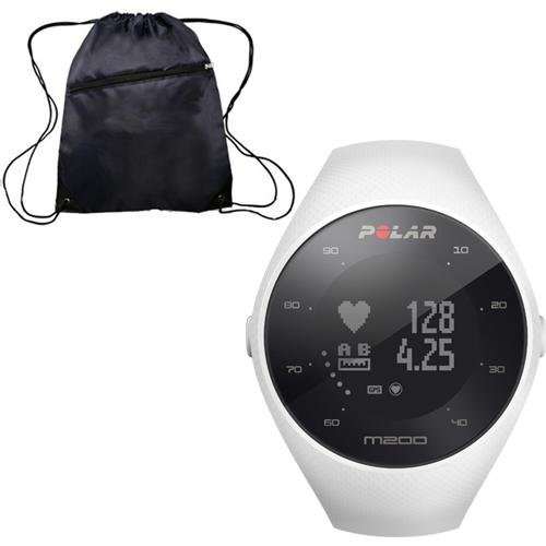 Polar M200 GPS Running Watch with Wrist-Based Heart Rate - White/Small-Medium with Bonus Cinch Bag by Polar
