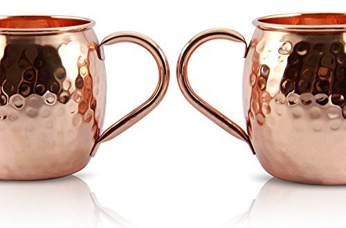 Pure Copper Moscow Mule Mugs Set: Professional Bar Luxury at Home. Antibacterial Insulated Cocktail Mug. Drink & Serve Soft Drinks, Ginger Beer, Coffee, Craft Cocktails: Black Manhattan, Mint Julep...