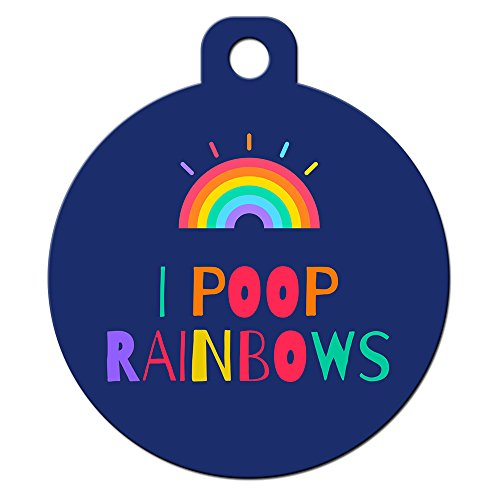Big Jerk Custom Products Ltd Funny Dog Cat Pet ID Tags - Add Your Contact Information, Customize Colors (I Poop Rainbows)
