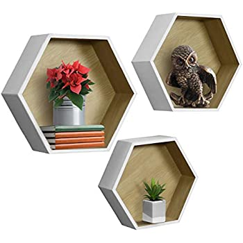 Sorbus Floating Shelf Hexagon Set - Honeycomb Wall Mounted Shelves, Decorative Hanging Display for Collectibles, Photos Frames, Plants, and More (Set of 3 - White)