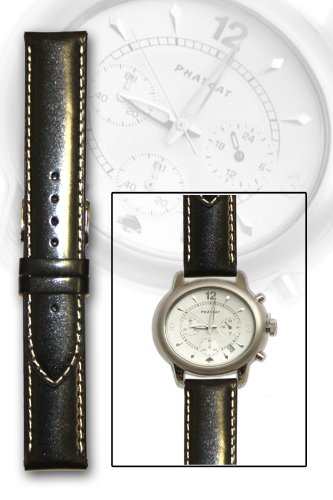 ブラックoil-tannedカーフスキンバンドwith Contrast Stitch and no-taper 22 x 22 mm  B004O4M1UA