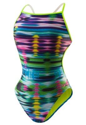 Speedo Women's Flipturns Krumpy Weave Tie Back One Piece Swimsuit, Multi, 36