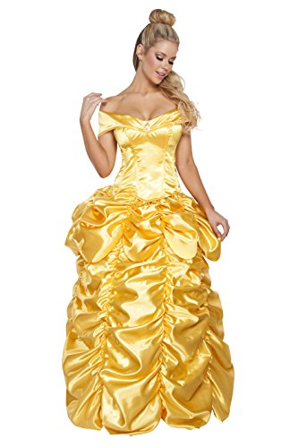 Belle 2 Piece Costumes (Roma Costume Women's 2 Piece Beautiful Fairytale Maiden, Yellow, Large)