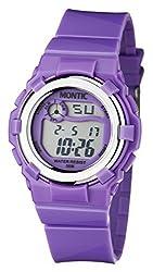 Montic Kids Multi Function Digital Purple Water Resistant Sports Watch for Children