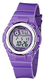 Montic Kids Multi Function Digital Purple Water Resistant Sports Watch for Children