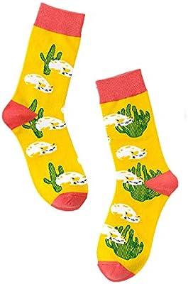 LIOOBO Calcetines Estampados,Dibujos Animados Algodón Novedad Calcetines Funky Fancy Cactus con Dibujos Unisex Feliz Divertido Harajuku Amarillo Calcetines Hombre Mujer(3Pcs): Amazon.es: Deportes y aire libre