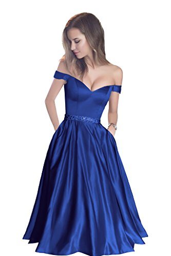 Harsuccting Off The Shoulder Beaded Satin Short Cocktail Homecoming Dress With Pocket