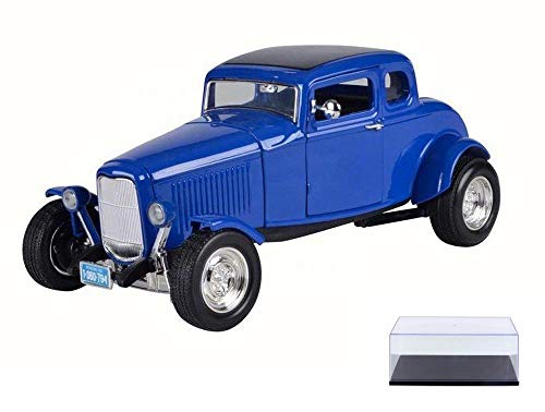 Motor Max Diecast Car & Display Case Package - 1932 Ford Coupe Five-Window Coupe, Blue 73171 - 1/18 Scale Diecast Model Toy Car w/Display Case