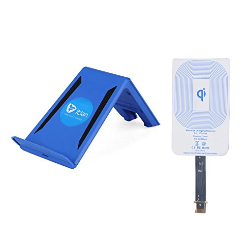 Mikobox Portable Wireless Charger Charging Transmitter Mount Pad + Receiver Receptor Adapter For Iphone 6(A6Blue Pad+Iphone 6 Receiver)