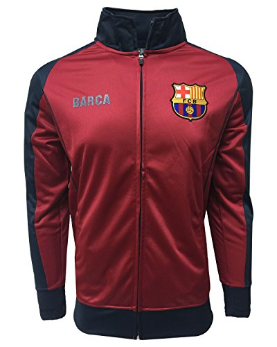 Barcelona Track Jacket, Kids and Adults Sizes, Soccer Football Jacket Burgundy Color,Official Merchandise (Youth Medium 7-9 Years)