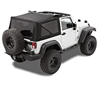 Bestop 79846-17 Replace-A-Top Black Twill Fabric Replacement Soft Top with Tinted Windows; no door skins included; Fits 2010-2018 Wrangler 2-Door (large OEM-style rear curtain)
