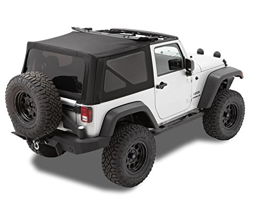 - Bestop 79846-17 Replace-A-Top Black Twill Fabric Replacement Soft Top with Tinted Windows; no door skins included; Fits 2010-2018 Wrangler 2-Door (large OEM-style rear curtain)