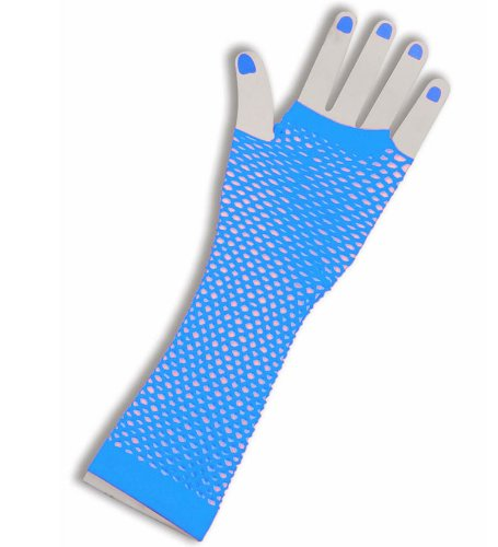 1980's Cindy Lauper Costume Accessory Long Fishnet Gloves - Blue]()