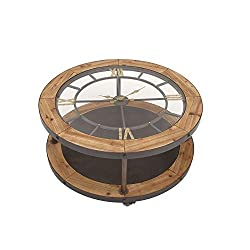 Benzara 44383 Antique Colonial Classic Metal Wood Clock Coffee Table