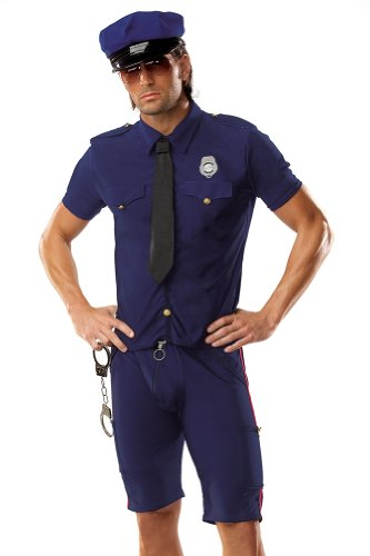 Male Policeman Costume (Coquette Men's M K Police Man Costume, Navy, Small/Medium)