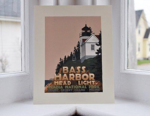 Bass Harbor Head Light, Maine Print (8x10 Lighthouse Travel Poster, Wall Decor Art)